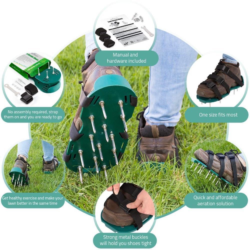 Παπούτσια γκαζόν aerator νέα άφιξη με 6 κορδόνια garden yard grass cultivator scarification nail tool ls'd msow