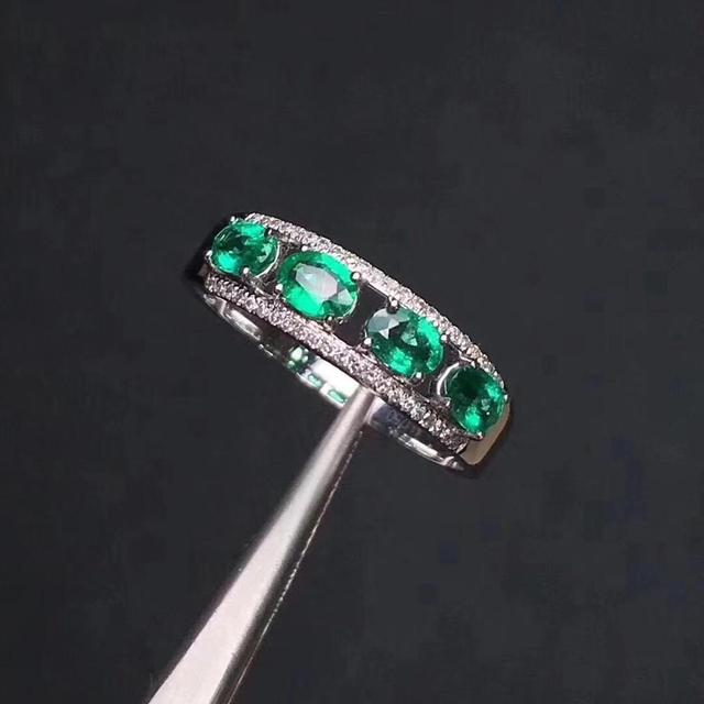 Natural emerald ring fashionable gem quality deep color 925 silver customizable size number
