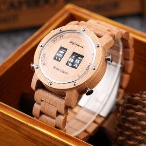 Image 2 - Digital Watch for Men Shifenmei Wood Watches Roll Military Electronic Wheel Timepieces Luxury Wristwatch Clock erkek kol saati