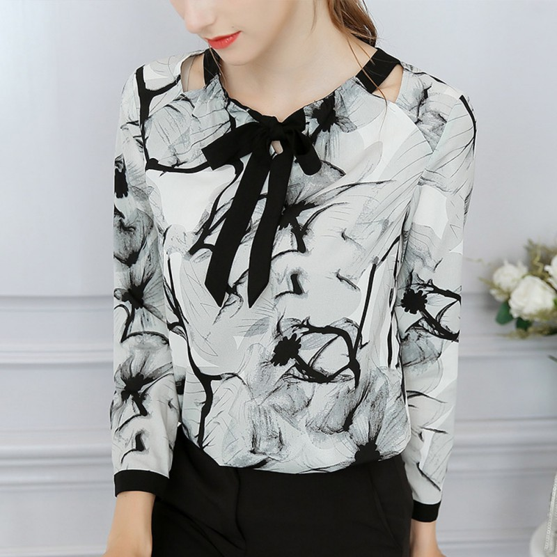 Summer Women's Blouse Round Collar Sexy Loose Plus Size Long Sleeve Chiffon Print Versatile Fashion Blusas Mujer De Moda 2019