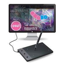 Huion h420 tablet gráfico com 3 teclas personalizadas da imprensa assinatura almofada com dez pontas extra da pena (perfeito para osu)