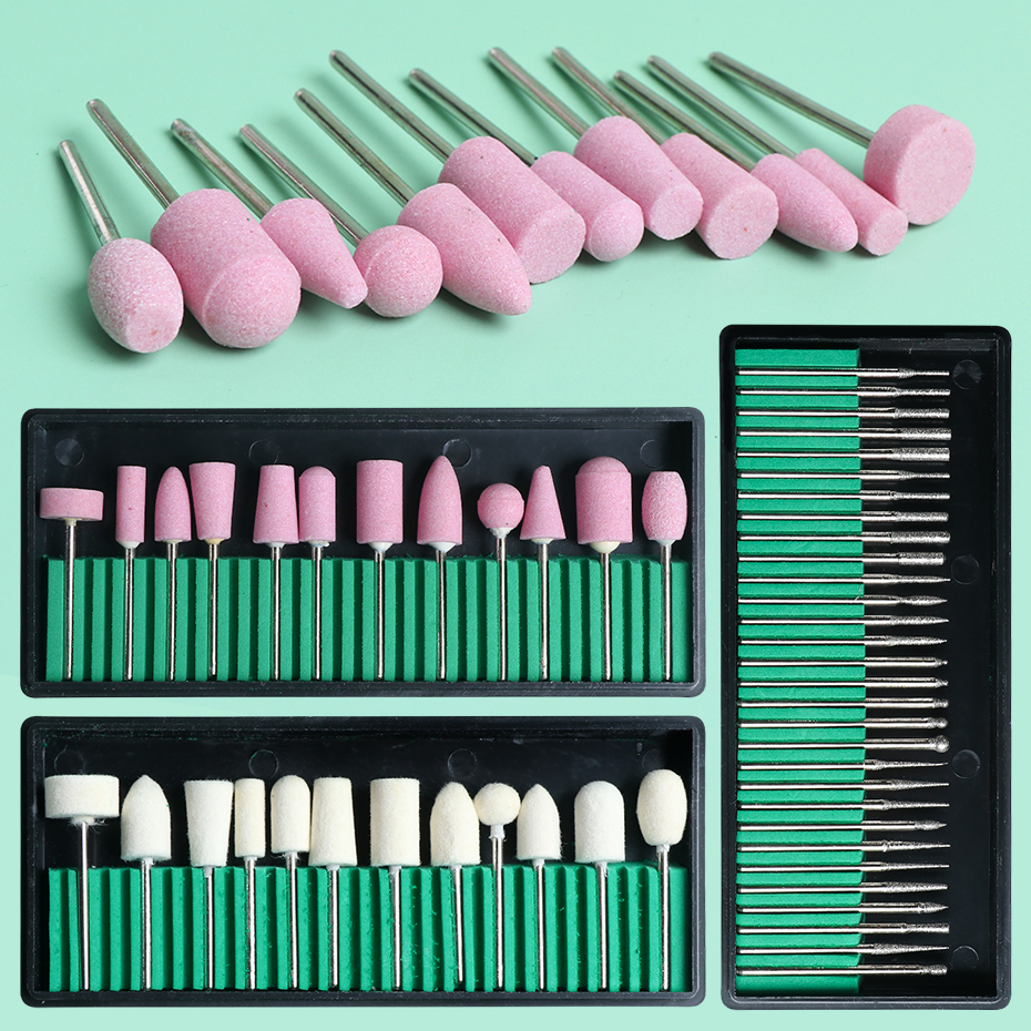 1set Nail Drill Bits Stone Milling Cutter Electric Manicure Toolkit Nail Bit Cuticle Carbid Burr Pedicure Nail Art Tools BE1560