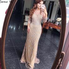 Serene Hill Dubai Luxury Mermaid Sparkly Formal Evening Dress 2020 Beading Sequins Long Sleeves Formal Party Gown CLA60892