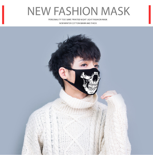Black Luminous Cotton skull Dustproof Mouth Cover Face Mask Anime Cartoon punk Expression Women Men Face Mouth Masks Couple Mask 5
