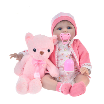 toy Baby Reborn Doll 55CM soft Silicone Realistic Reborn Baby Doll Adorable Lifelike blue eyes girls for kids Birthday Christmas