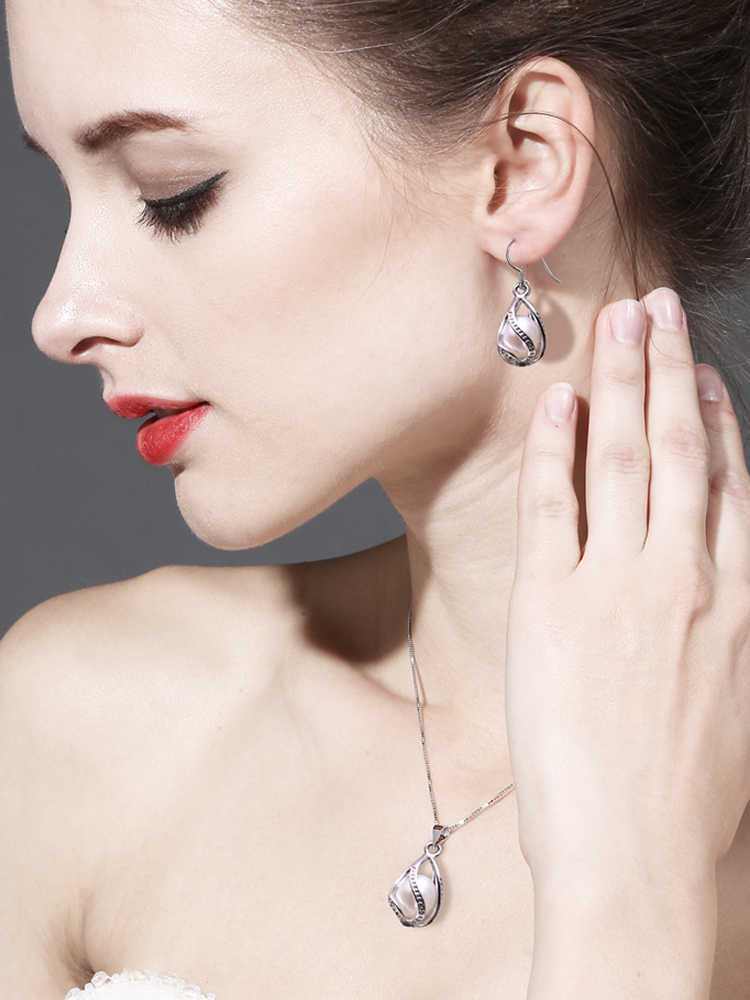 Fenasy natural de água doce pérola pingente gaiola colar moda 925 prata esterlina boho instrução colar pérola jóias