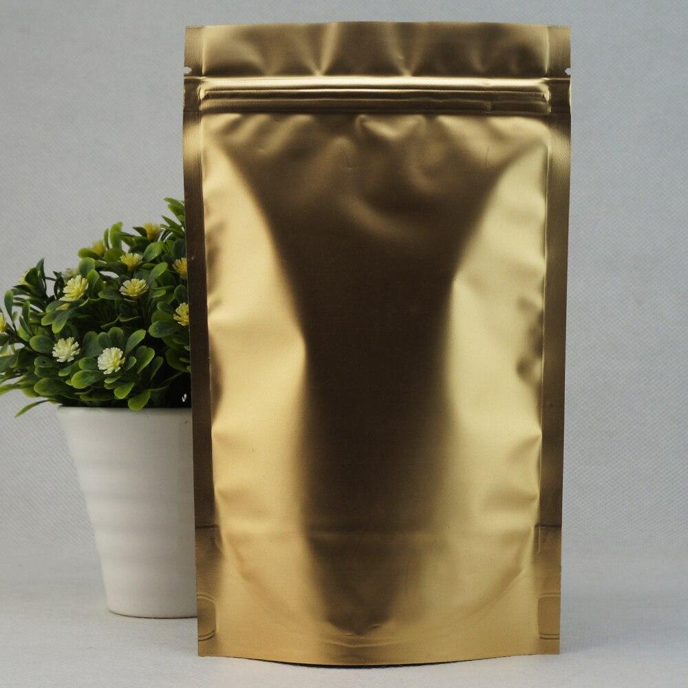 12x20cm,100 X Matte gold Stand up plating Aluminium foil Zip Lock bag - resealable Mylar coffee bean plastic pouches zipper seal