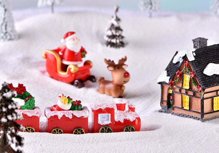 Christmas Santa Claus Sled Deer Tree Figurine Doll House home decor miniature fairy garden decoration accessories modern statue