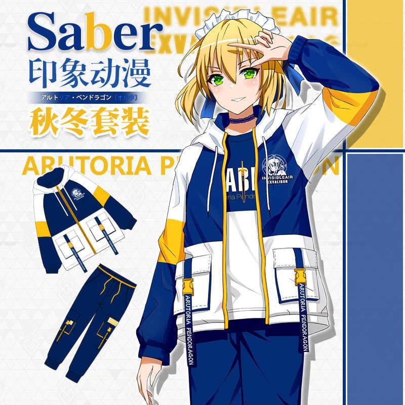 Fate/stay night arutoria pendoragon sabre cosplay outono inverno com capuz casaco de poeira casual calças com capuz manga longa conjunto camiseta