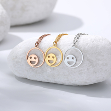 Hollow Smiley face with heart eyes Necklace For Women Cute Gold stainless steel chain necklace Gifts Friends collar