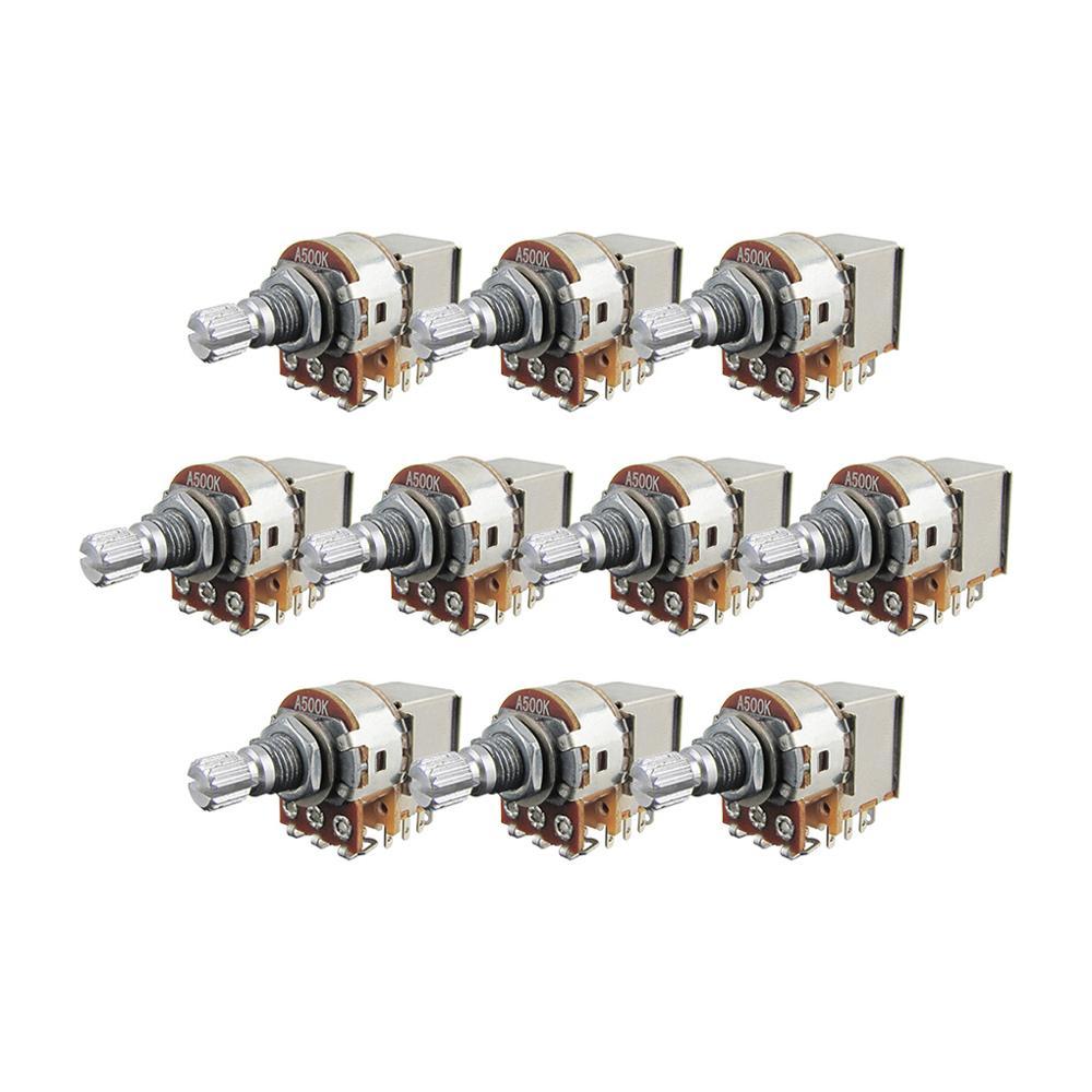 FLEOR A250K Push Pull Guitar Pots 18mm Split Shaft Audio Taper Potentiometers Pack of 10
