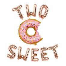 1 conjunto de 16 polegada rosa ouro duas letras doces balões da folha donut globos chuveiro do bebê 1st aniversário festa decoração brinquedos presentes do amor do casamento