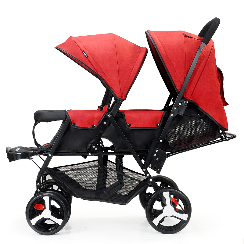 Twin Baby Stroller Double Baby Stroller Foldable Lightweight Stroller Can Sit Can Down Stroller Double Seat Pram