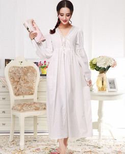 2019 осень зима принцесса Ретро Элегантные ночные рубашки винтажные женские кружевные белые пижамы платье хлопок с длинными рукавами ночная ...