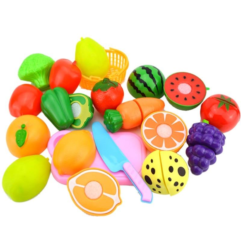 Plastic Cutting Vegetables Fruits Pretend Food Playset Baby Early Educational Kitchen Toys Fun Preschool Children 1 Set