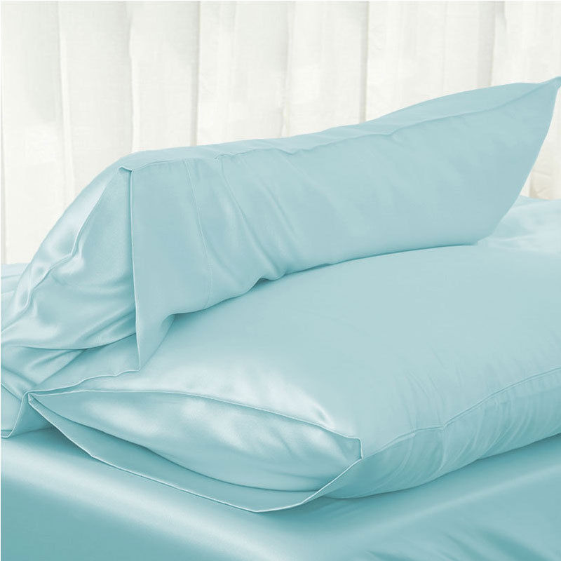 1PC 51*76cm Luxury Silky Satin Pillow Case Pillow Cover Solid Color Standard Pillowcase
