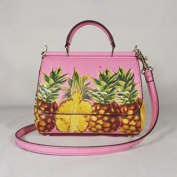 Women's Handbags Women's Shoulder Bags Tote Bags Leather Women's Messenger Bag Designer Pineapple Pink
