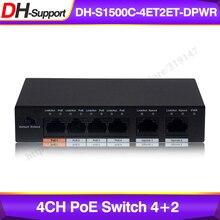Dahua interruptor PoE de 4 canales, DH S1500C 4ET2ET DPWR conmutador Ethernet de 4 canales con distancia de tránsito de energía de 250m, compatible con protocolo PoE + y Hi PoE.