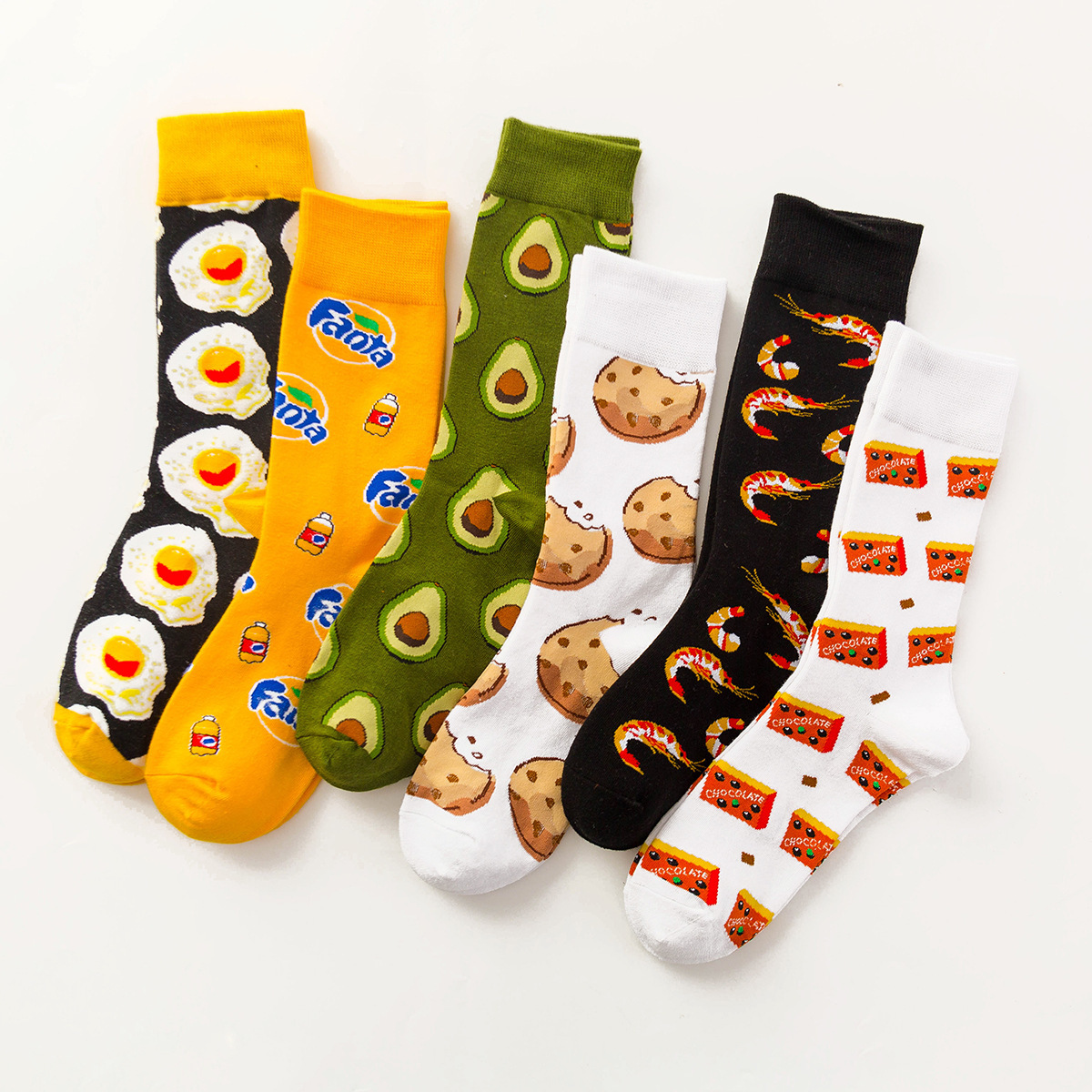 Cartoon Food Avocado / Cookies / Eggs Harajuku Socks Japanese Hip Hop Yellow Funny Socks Creative Lovely Sokken Calcetines