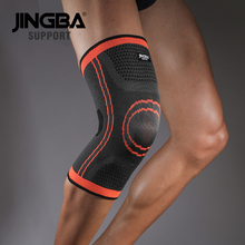 лучшая цена JINGBA SUPPORT Sport Basketball Volleyball knee brace support Elastic Nylon knee pads Compression knee protector factory