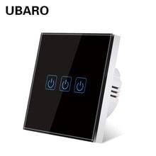 UBARO-Panel de cristal templado para pared, Interruptor táctil para luz, Sensor de encendido/apagado, botón Manual, Interruptor de 1/2/3 Gang 220V
