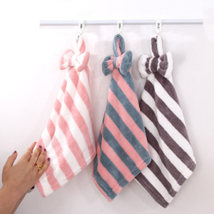 Striped Bowknot Coral Velvet Hand Towel Super Soft Absorbent Hanging Bathroom Kitchen Towel Cleaning Cloth Dishcloth 30x30cm 1PC