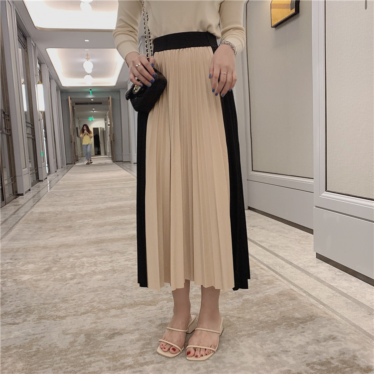 4 Color New Star With The Autumn Women Skirt High Waist Color Matching Pleated Skirt Female Elegant Ankle Length A Word Skirt