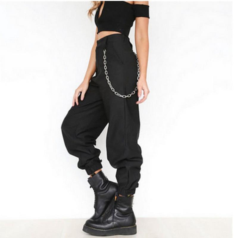 S-3XL Plus Size Pants Women Casual High Waist Cargo Pants Women Loose Solid Black Khaki Trousers Pockets Elastic Waist Bottoms