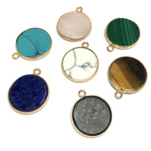 LE SKY 7colors Natural Stone Jewelry Wholesale Pendants Charms for Making Quartz Necklace 20x35mm