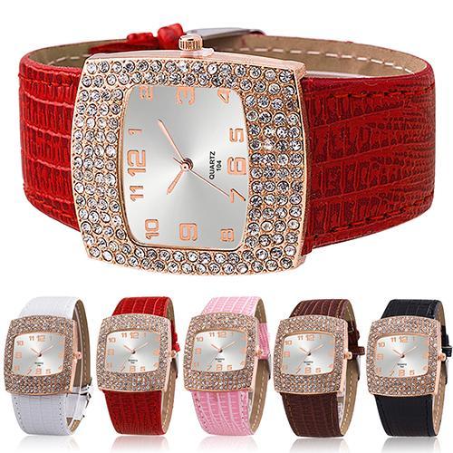 Women Watch Luxury Square Case Clock Quartz Alloy Shiny Rhinestones Faux Leather Analog Wrist Watch Reloj Mujer Ladies Dress Wat