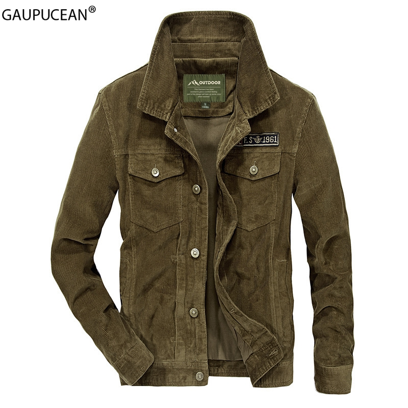 100% Cotton Corduroy Men Jacket Spring Autumn Winter Pockets Mens Green Male Fashion Solid Color Military Bomber Man Jackets