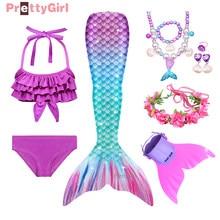 Vestido de festa sereia cauda maiô praia biquíni traje de sereia cosplay festa de halloween meninas vestido de aniversário presentes