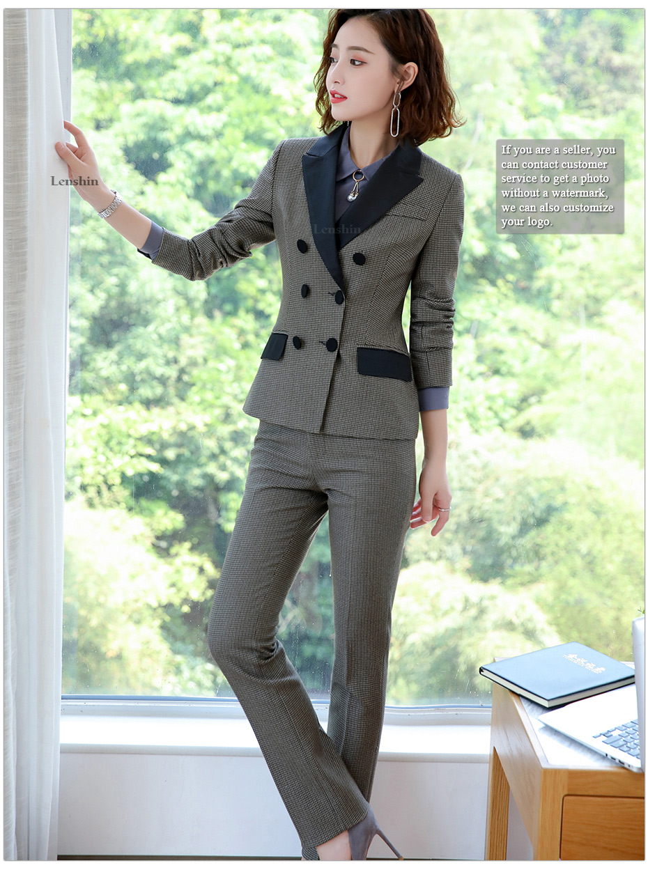 Lenshin High-quality 2 Piece Set Houndstooth Formal Pant Suit Blazer Office Lady Design Women Soft Jacket and Full-Length Pant 32