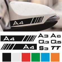 2 pçs/lote Espelho Retrovisor Do Carro Decoração Da Janela Decalque Adesivo Para Audi A3 A4L A5 A6L A7 A8 Q3 Q5 Q7 S3 S4 S5 S6 S7 S8 TT