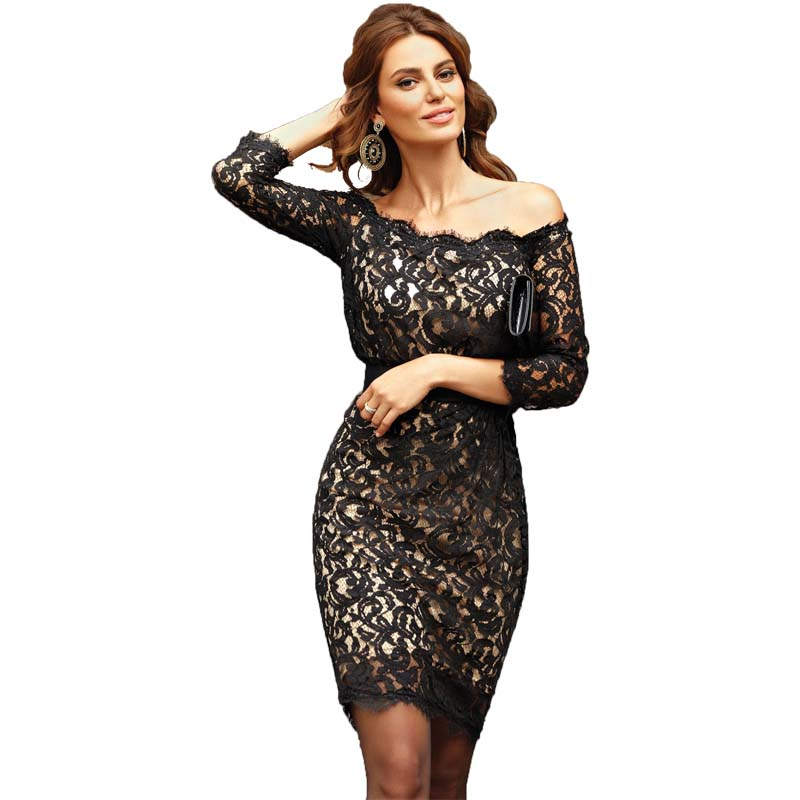 Black Lace Evening   Dress   Long Sleeve Sheer Applique Women Wedding Guest   Dress   Dinner Party Formal Short   Prom     Dress