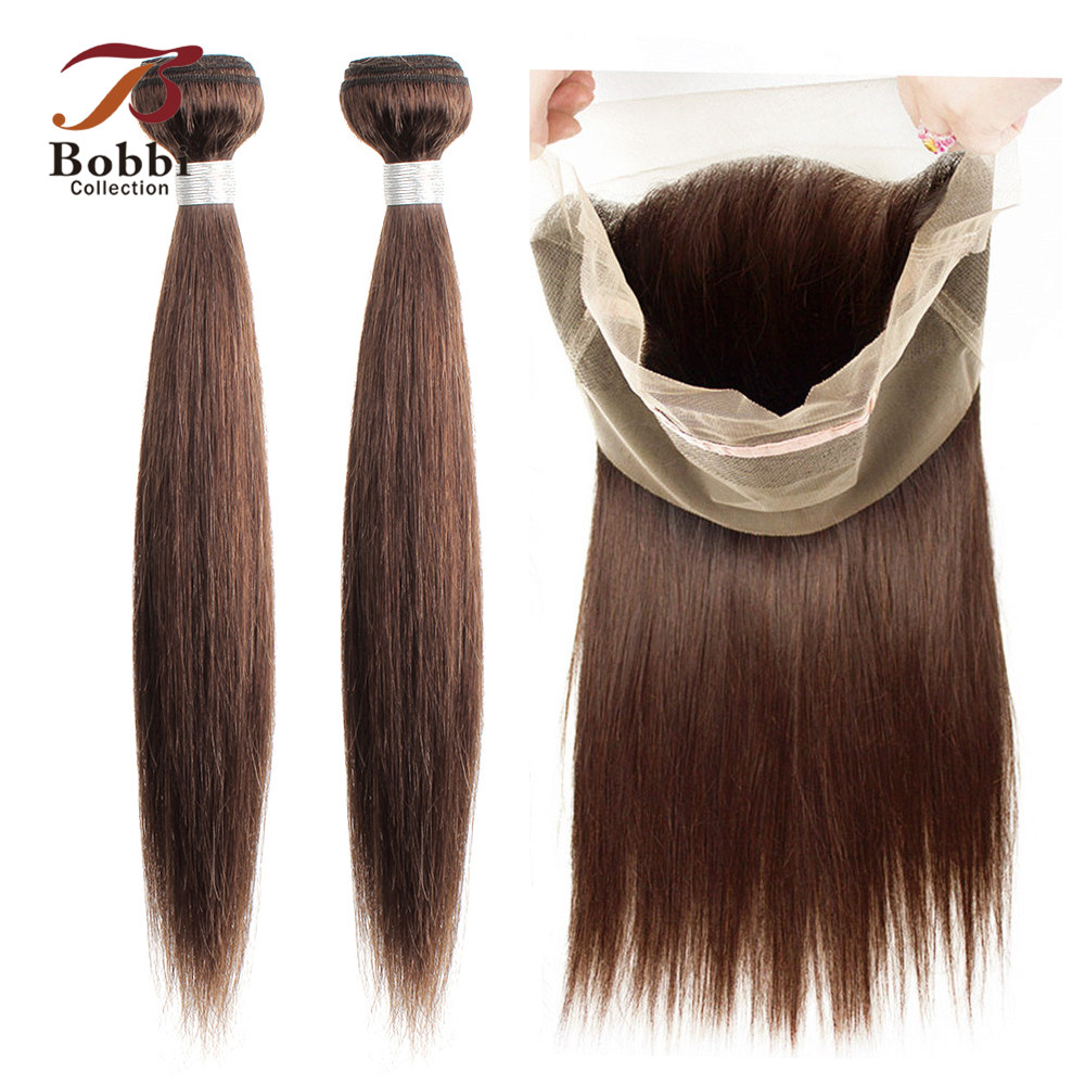 Bobbi Collection 360 Lace Frontal With Bundle 2/3 Bundles With Frontal Brazilian Straight Brown Bundle Non-Remy Human Hair Weave