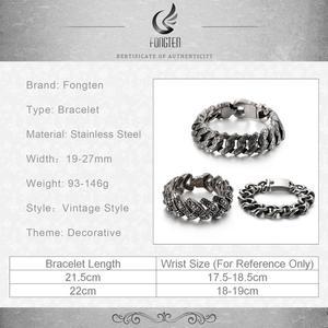 Image 5 - Fongten Retro Cool Link Chain Bracelet Men Black Stainless Steel Engraving Hip Hop Cuff Bracelets Bangle Male Jewelry