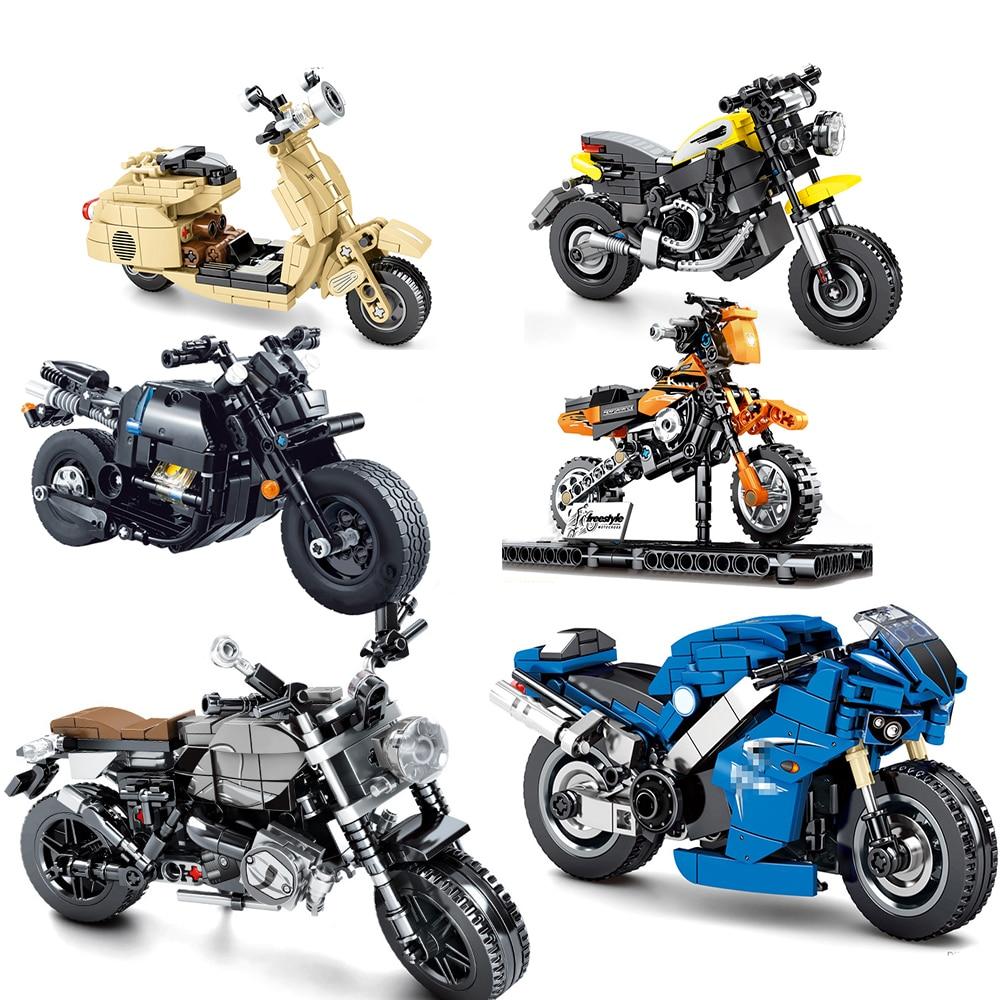 Новые наборы моторов, мотоцикл, техника, гоночные внедорожники, строительные блоки, кирпичи, скоростные чемпионы, спортивный городской мото...