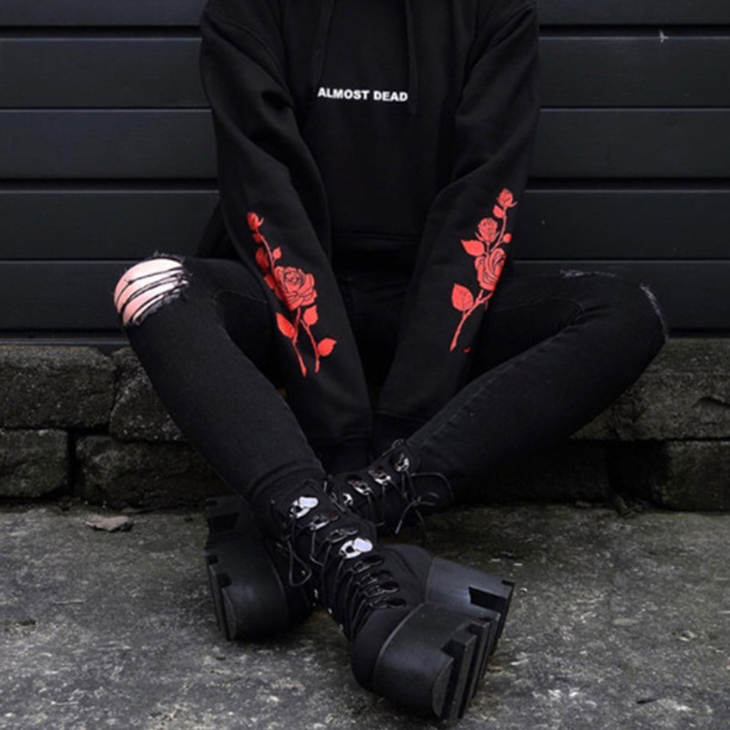 Women Gothic Hoodies Sweatshirt Long Sleeve Pullover ALMOST DEAD Rose Sweatshirt Women Black Hoodie Tops  Tumblr Hispter #B