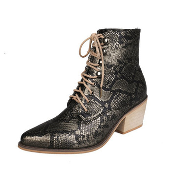 2020 Hot Women Boots Fashion Pointed Toe Women winter Boots Comfortable Square Heel Snake Print Shoes Women Non-slip Martin Boot