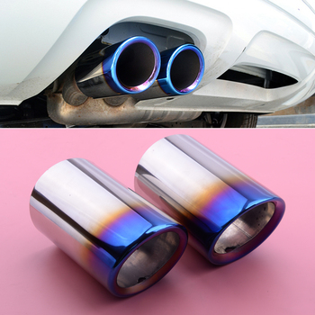 2pcs Grilled Blue Muffler Exhaust Tail Pipe Tip Stainless Steel Fit For BMW 3 Series E90 E92 325i 328i image