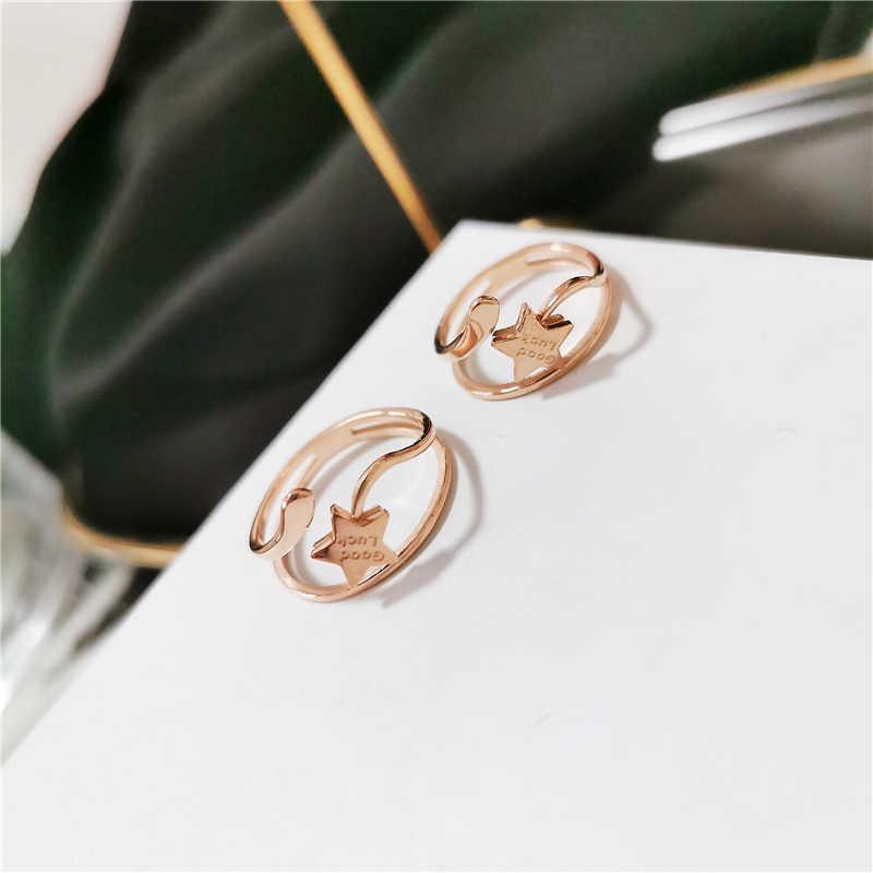 YUN RUO บุคลิกภาพโชคดีแหวน Rose Gold สีผู้หญิง Man ของขวัญแฟชั่นไทเทเนียมเหล็กเครื่องประดับไม่เคยเลือน Drop การจัดส่ง