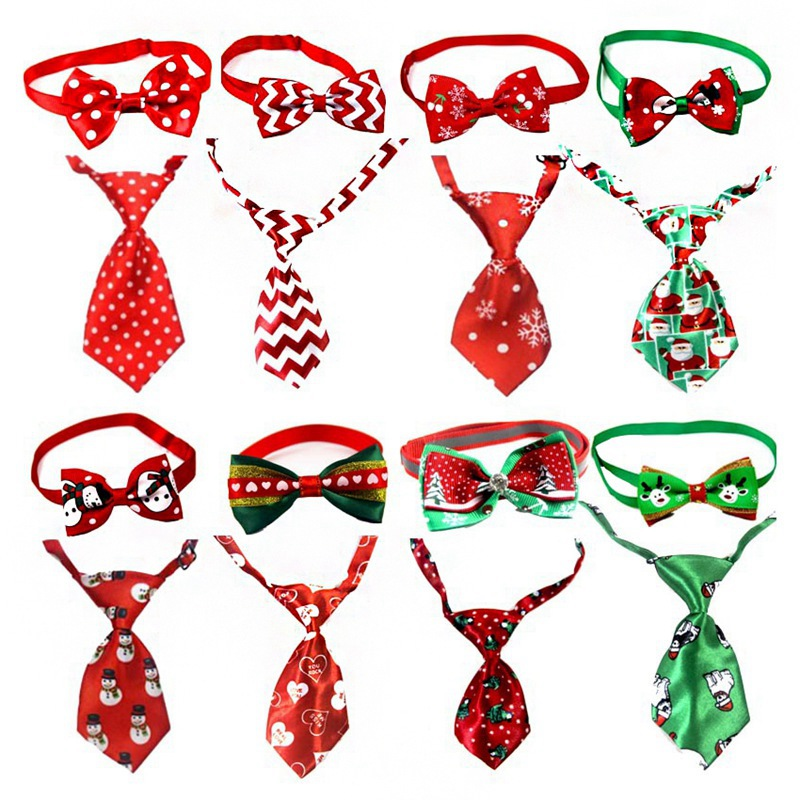 Christmas Holiday Pet Dog Cat Collar Bowknot Tie Adjustable Neck Strap Cat Puppy Nursing Accessories Pet Product Supplies Xmas