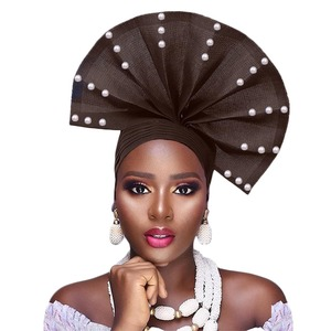 Image 3 - Free shippoing Stoned aso oke headtie headwrap turban africain gele headtie already made