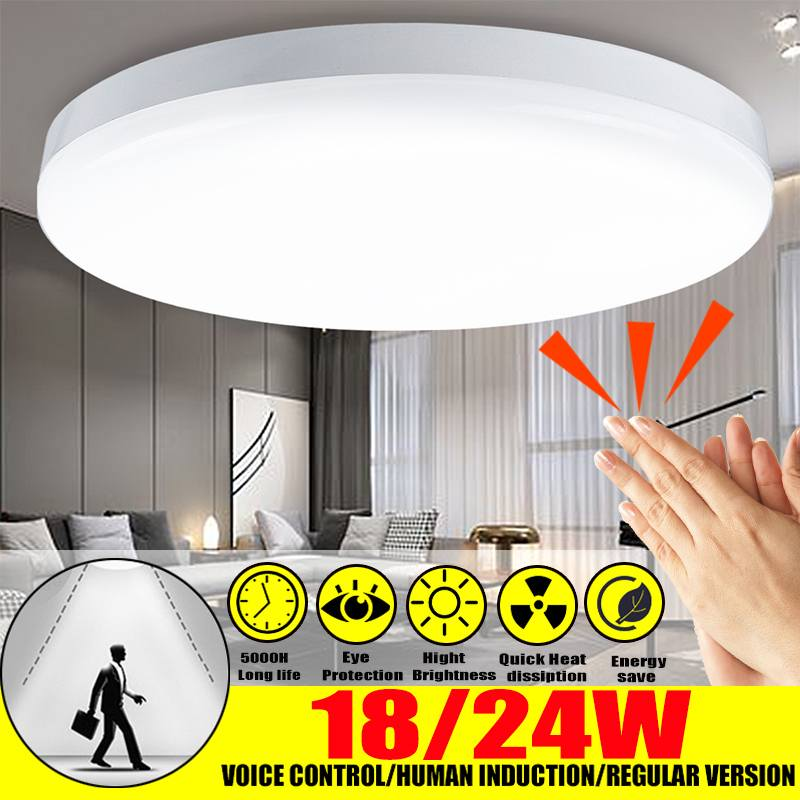 Voice Control Human Induction LED Ceiling Light 12W/24W Modern Led Ceiling Lamp For Home Surface Mounted Led Ceiling Lighting