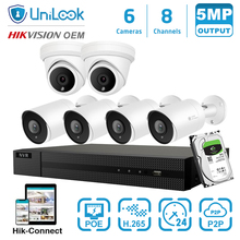 UniLook 8CH 5MP H.265+ 4K HD POE NVR Kit CCTV System IR Outdoor 2 Dome 4 Bullet Audio Video Security System HIK Connect audio system h series h 15spl