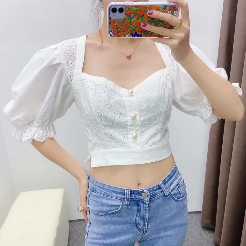 New Women White Puff Sleeve Tops With Ruffles Cuffs 2020 Stylish Cotton Square Collar Shirt Sexy Ladies Chic Embroidery Blouses