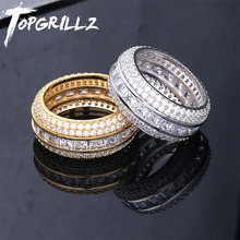 Topgrillz baguette zircão masculino anel material de cobre charme ouro cor prata aaa zircão cúbico anel gelado moda hip hop jóias