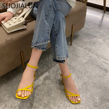 SUOJIALUN New Fashion Women Sandals Low Heel Narrow Band Slides Buckle Sandal Back Strap Summer Shoes Gladiator Casual Sandals