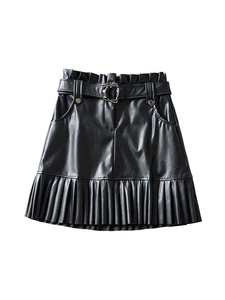 Vadim Mini-Skirt Belt-Pockets Pleated Chic Paperbag Black Casual Waist Fashion BA793